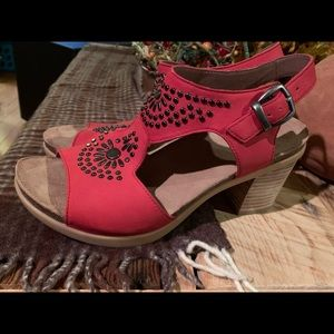 Dansko red studded sandal